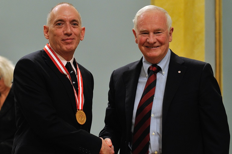 Brian Jaffray accepting his award at Rideau Hall, 2012.