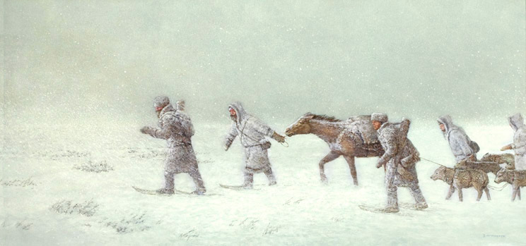 Men and a horse walking on snow in a storm
