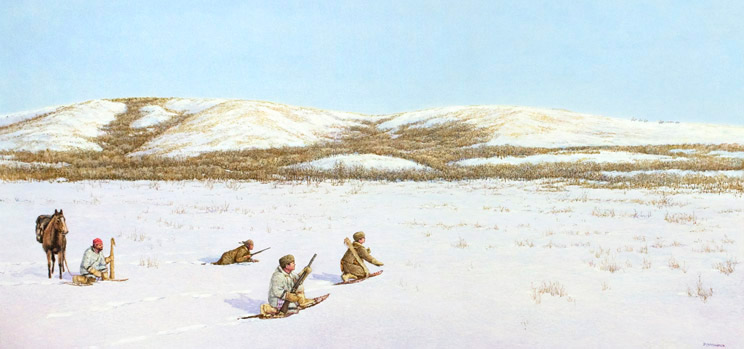 Four men crouching in the snow with guns.
