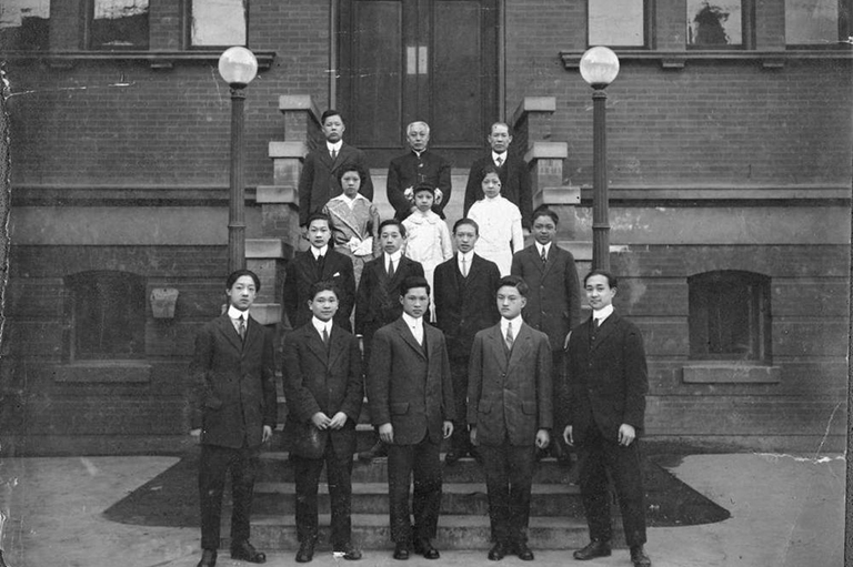 First Graduation Class Of The Chinese Public School, Chinatown, Victoria. Principal: Lee Mong Kow