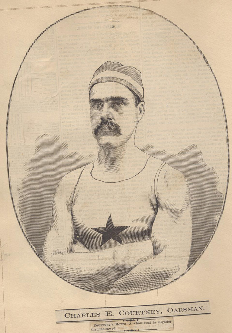Print image of a man in a swim suit, forearms crossed in front of his chest