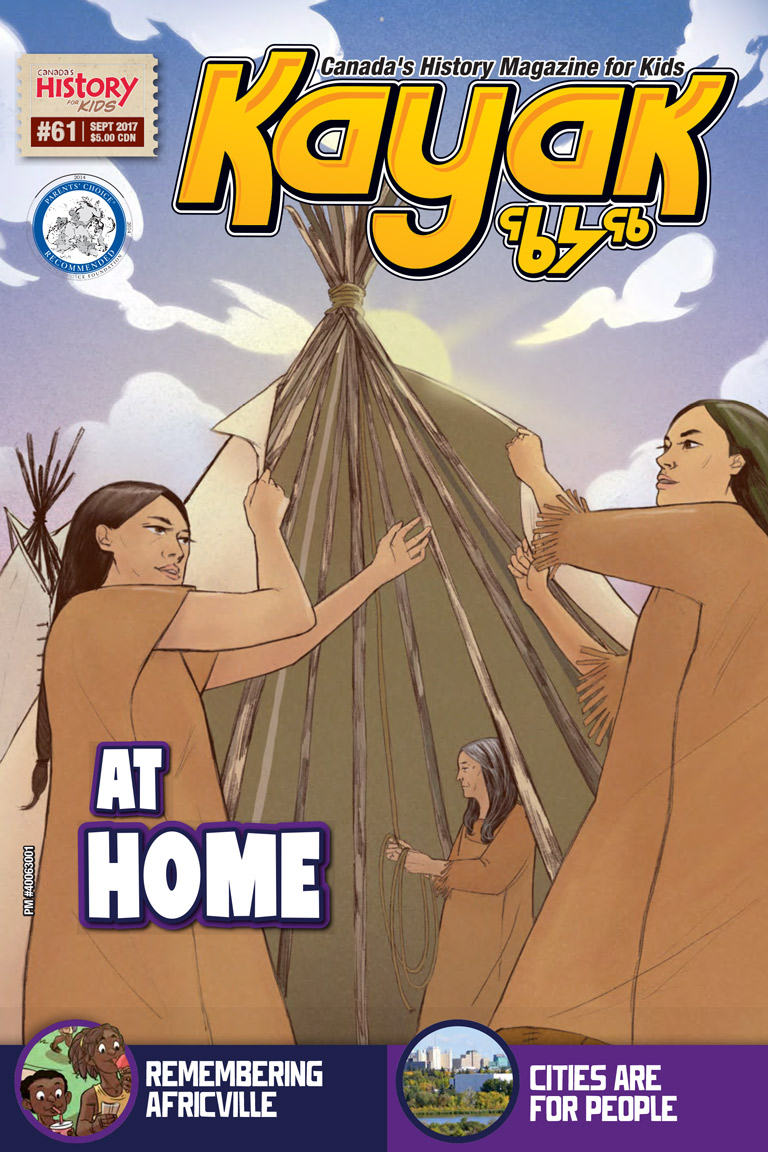 Cover of issue 61 of Kayak magazines depicts three women assembling a tipi.