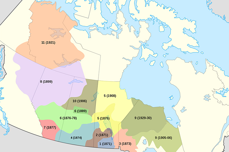 This image shows a Treaty Map of Canada.
