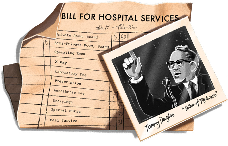 "Illustration of a hospital bill and a ""Polaroid"" of Tommy Douglas."