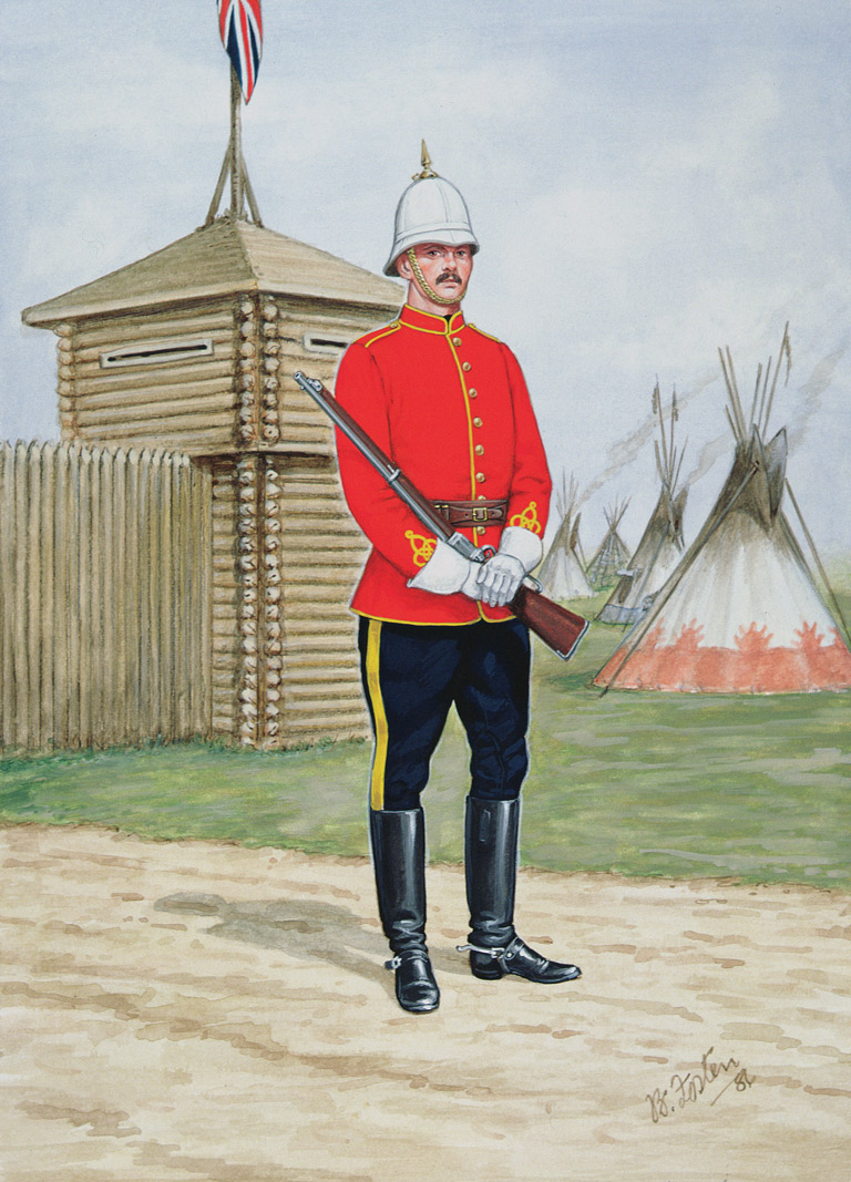 Colour illustration of North-West Mounted Police officer.