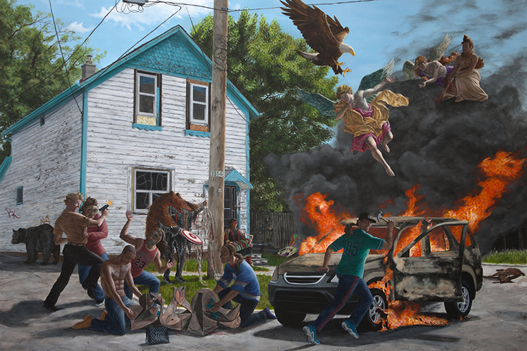 This image shows a painting by Kent Monkman called Struggle for Balance.