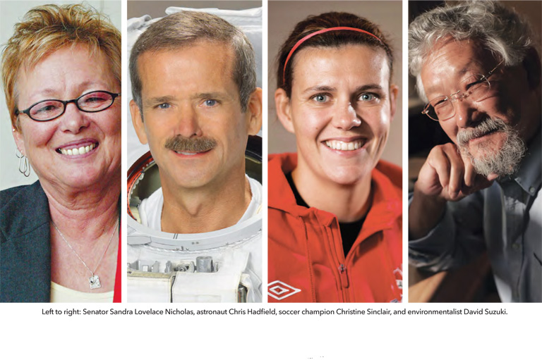 Colour photos of Left to right: Senator Sandra Lovelace Nicholas, astronaut Chris Hadfield, soccer champion Christine Sinclair, and environmentalist David Suzuki.
