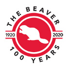 100 Years of The Beaver - logo of red-filled circle with white beaver silhouette in the centre.