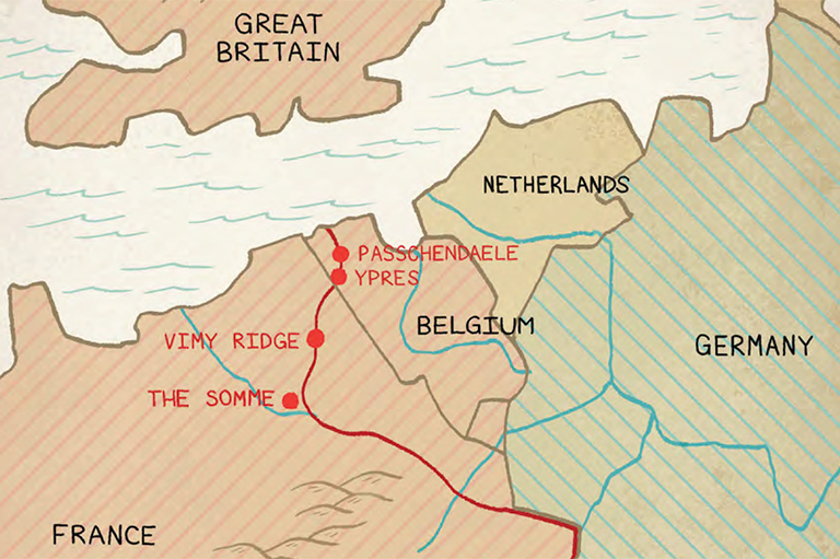 This is an image of a map that highlights the locations of four First World War battles, including Vimy Ridge, The Somme, Passchendaele, and Ypres.