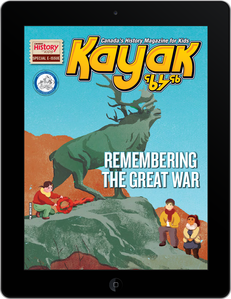 Cover of the Great War issue of Kayak on a tablet.