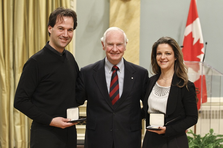 Eric Ruel and Guylaine Maroist accepting their award at Rideau Hall, 2011.